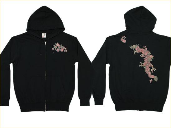 京都和柄「むかしむかし」メンズ和柄パーカー