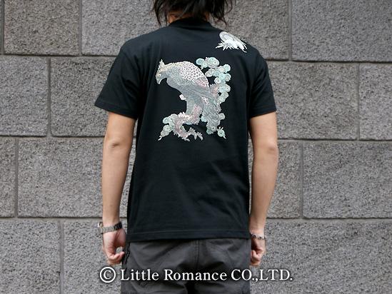 京都和柄「むかしむかし」メンズ和柄半袖Tシャツ鼓鷲
