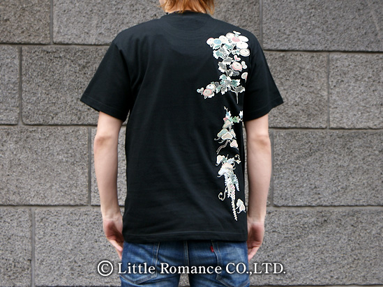 京都和柄「むかしむかし」メンズ和柄半袖Tシャツ花尽くし